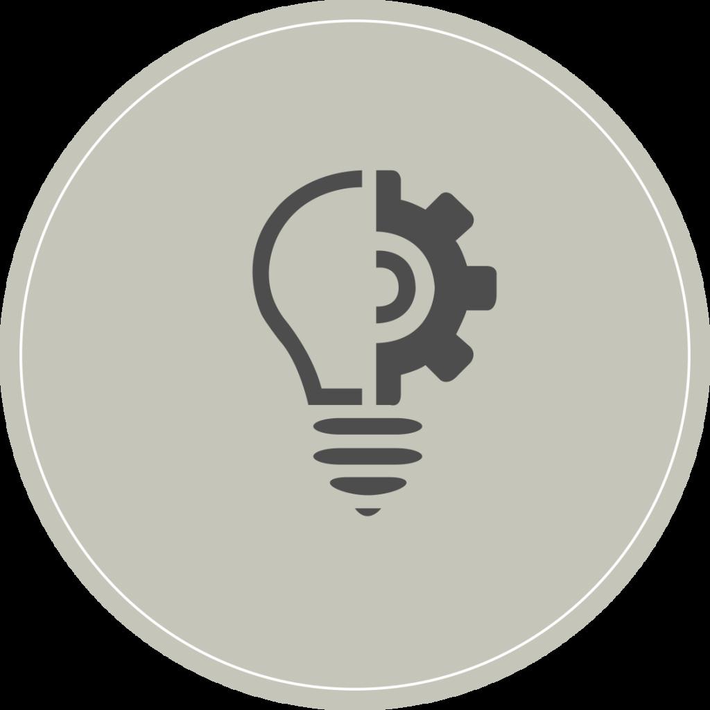icône innovation ampoule et rouage